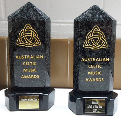 The 2017 Australian Celtic Music Awards for Producer of the Year and Female Artist of the Year